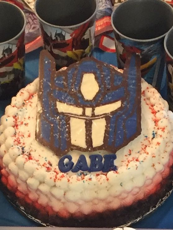 Transformer Optimus Prime Birthday Cake Used Wilton Candy Melts To