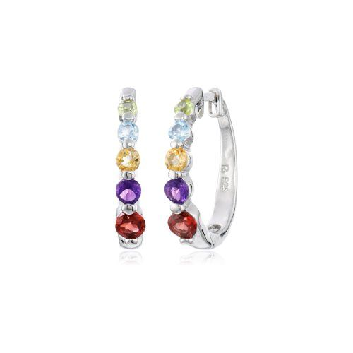 """Platinum-Plated Sterling Silver Multi-Gemstone Hoop Earrings (0.7"""" Diameter) - $33.55"""