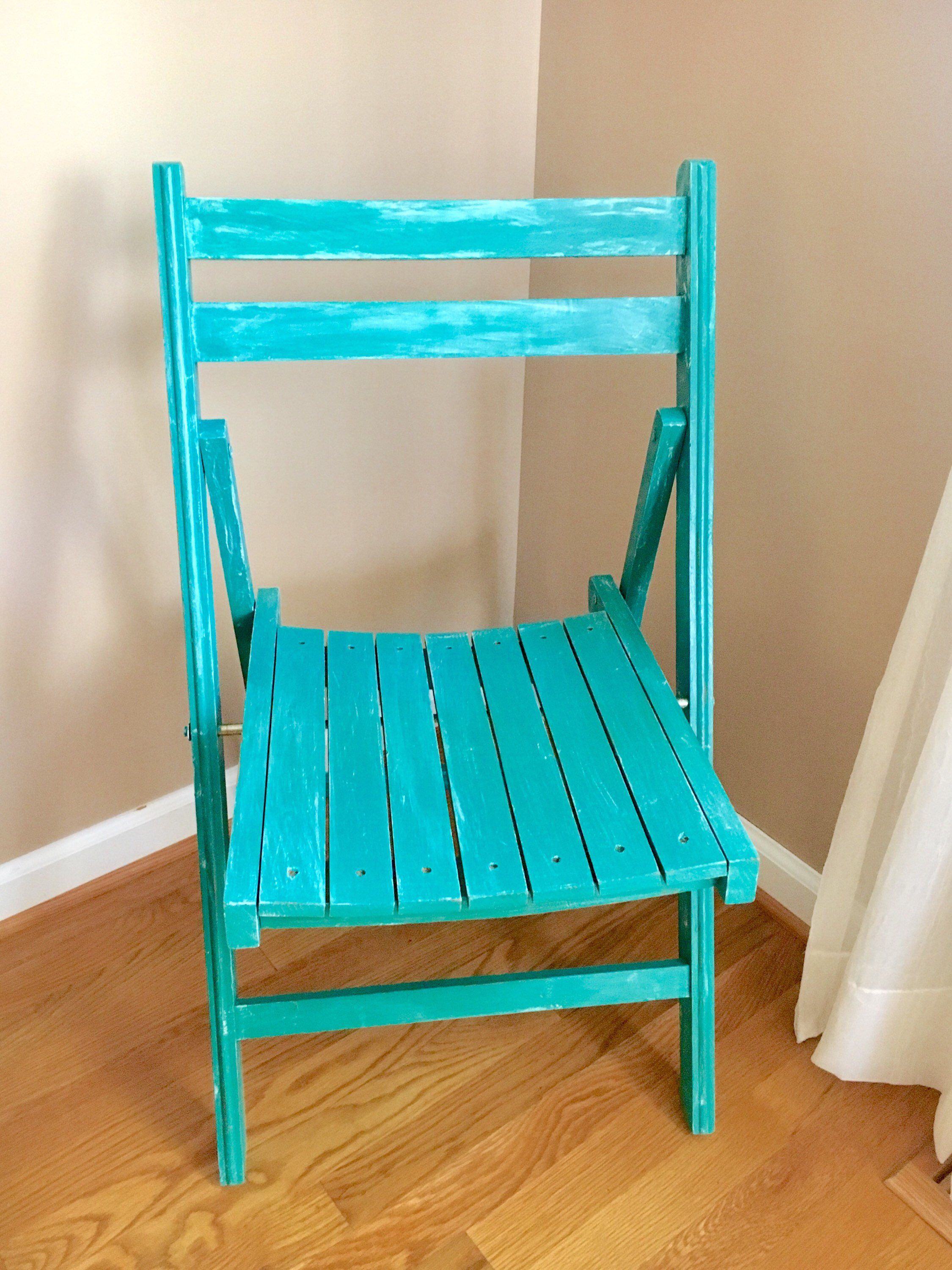 Shabby Chic Wooden Slatted Folding Chair, Distressed Patina Green, Cottage,