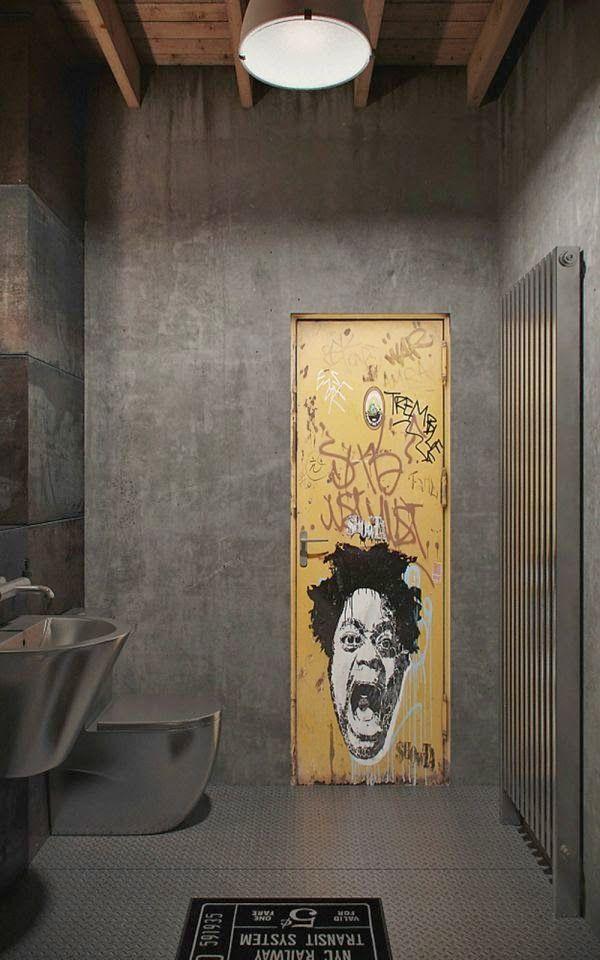 łazienka industrialna metal beton