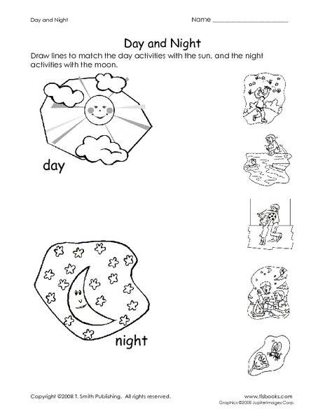 Day And Night Pre-K - Kindergarten Worksheet Kindergarten Worksheets, Preschool  Worksheets, Kindergarten Activities