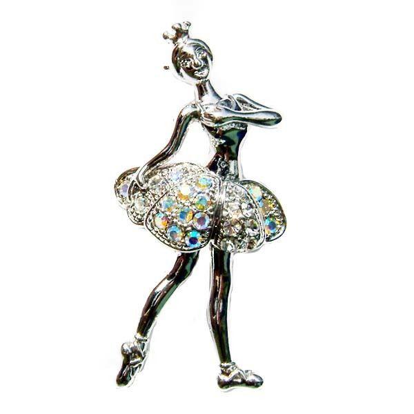 Clear AB Ballerina Ballet Dancer Swarovski Crystal Brooch.