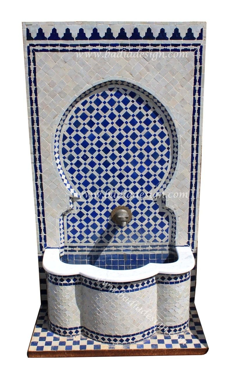 Mediterranean living room los angeles by badia design inc - Moroccan Mosaic Tile Wall Fountain From Badia Design Inc