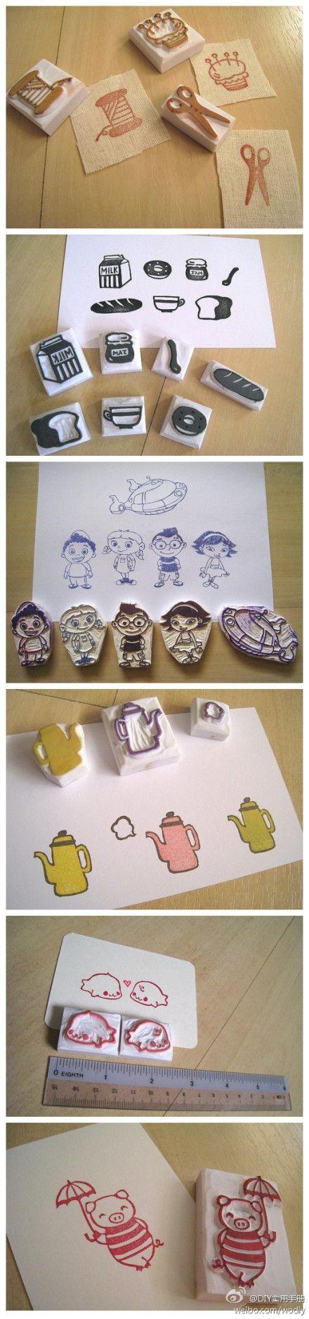 这些都不错啊!! stamp carving patterns simple printmaking for