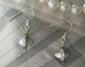 sTERLING & oLIVE sWAROVSKI cRYSTAL eARRINGS