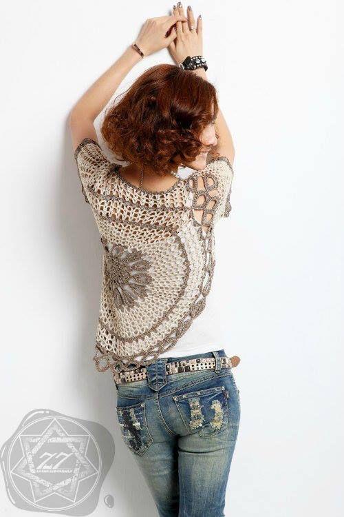 Top Jersey con un Circulo de Crochet Patrones - Patrones Crochet ...
