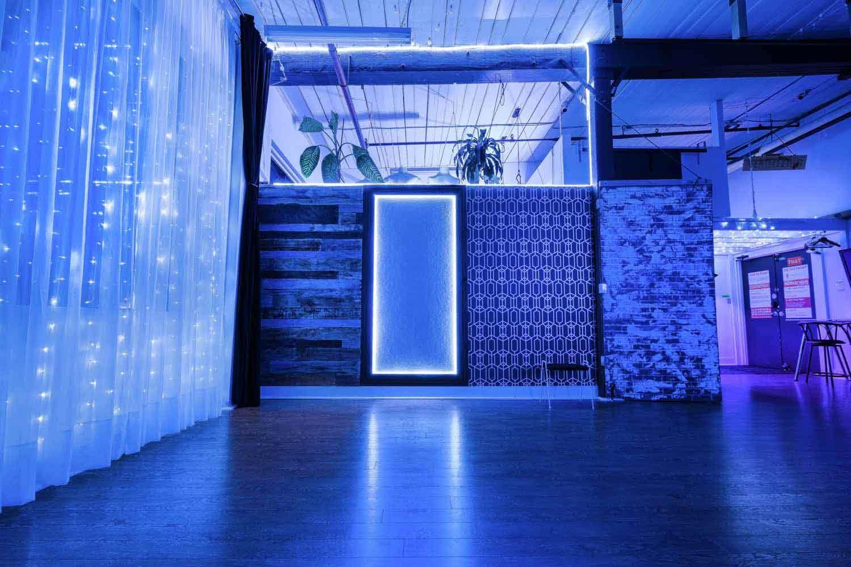 Glowing frame blue light studio studio light blue blue