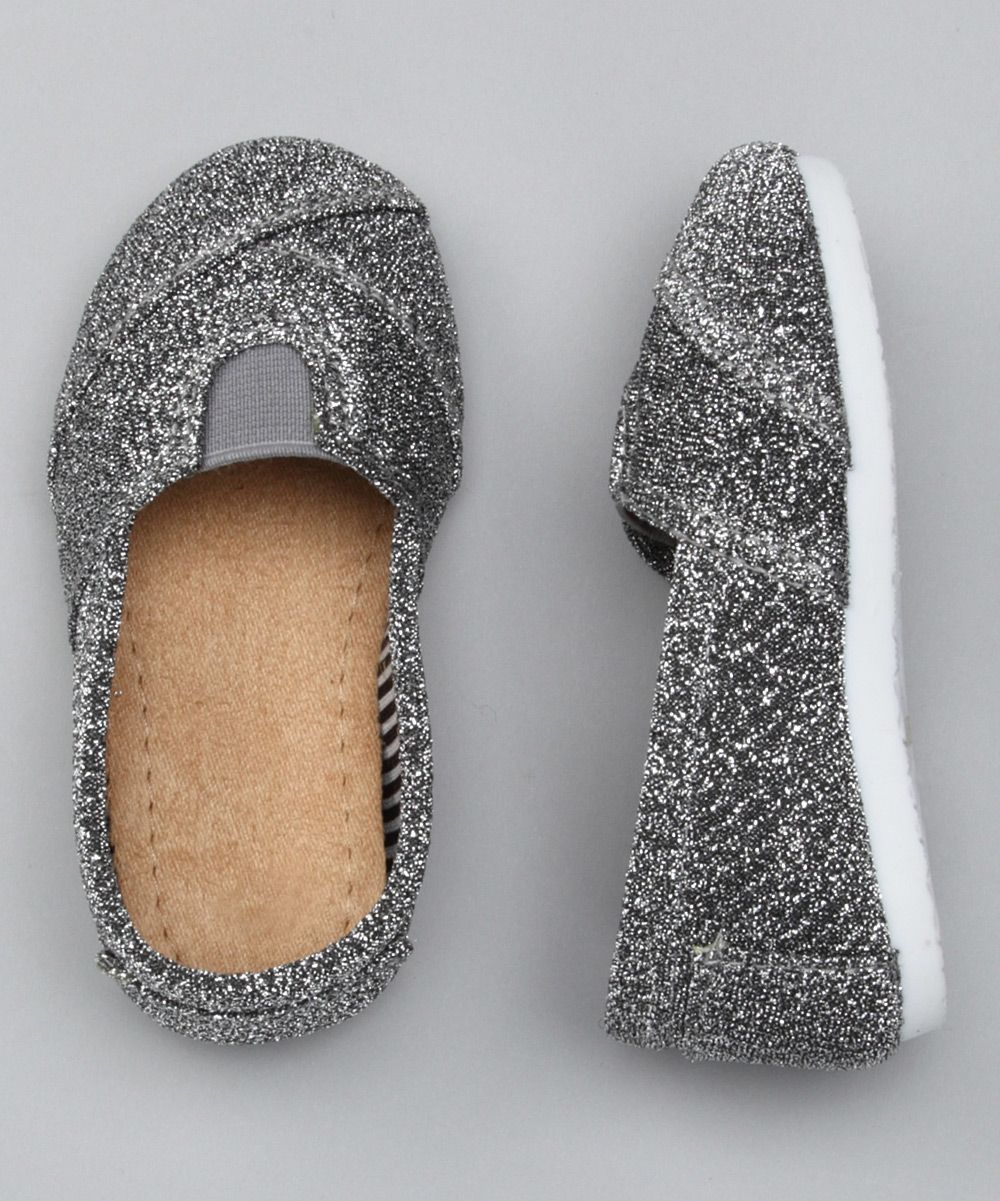 silver glitter wrapped panel slip on shoe child