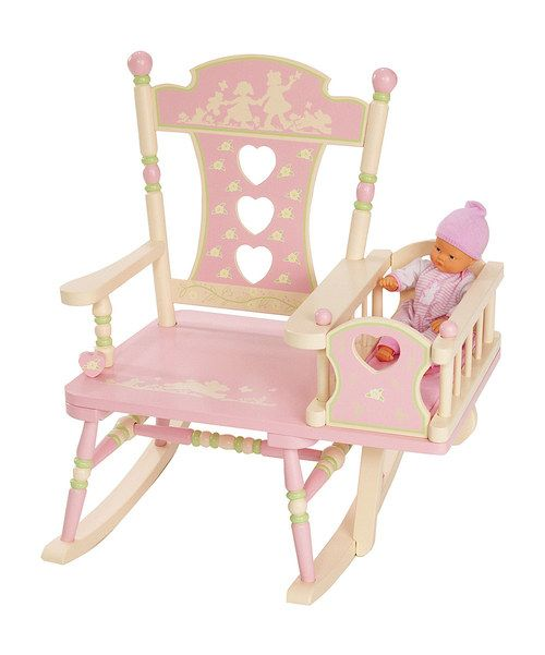 This precious rocker has a tiny attached crib so little ones can rock their baby dolls to sleep with a soothing lullaby. This perfectly sized seat looks precious in the playroom, and we love the darling silhouette on the chair's back.23.75'' W x 29'' H x 23'' DWeight capacity: 100 lbs.Medium-density fiberboard