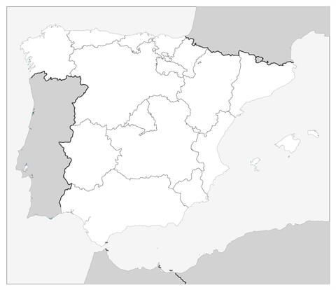 Map Of Spain With Regions Coloring Page Map Of Spain Coloring