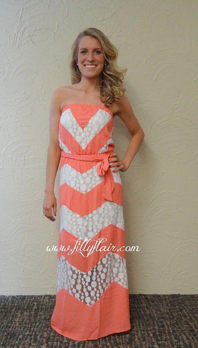 coral and white chevron maxi dress, chevron block maxi dress ...