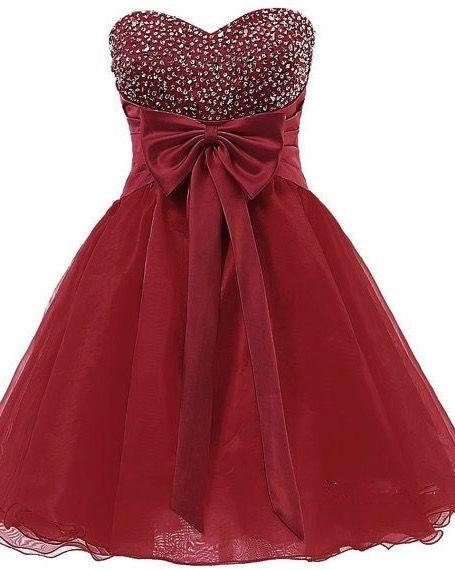 cabc12d486b Burgundy Short Organza Homecoming Dress Featuring Sequins Sweetheart ...