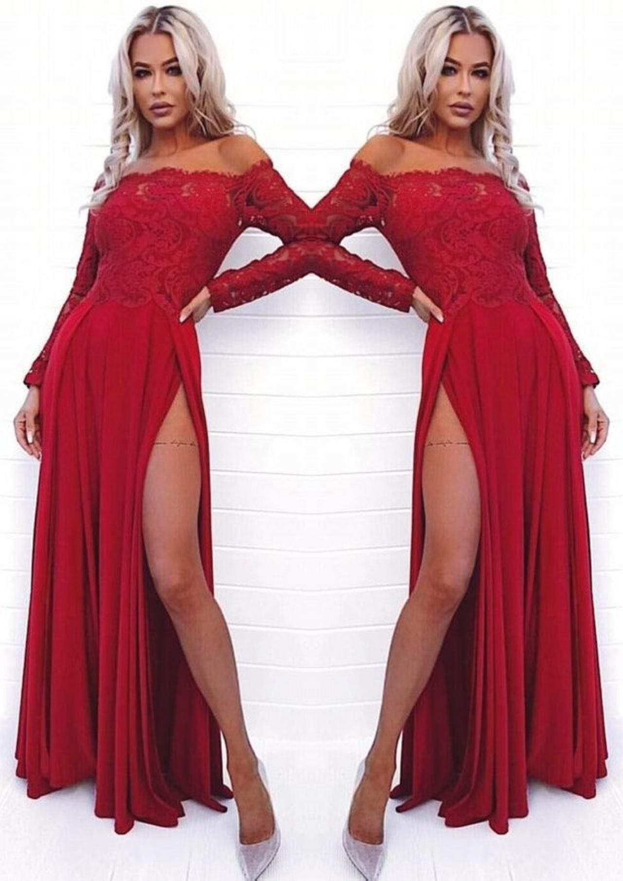 Aline offtheshoulder long sleeves dark red prom dress with lace