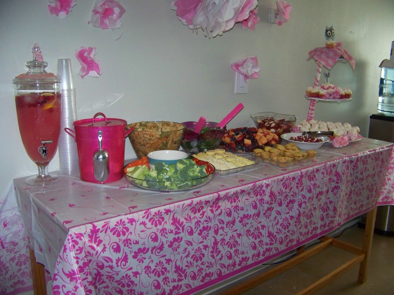 Pink Baby Shower Buffet Table Baby Shower Food Pinterest