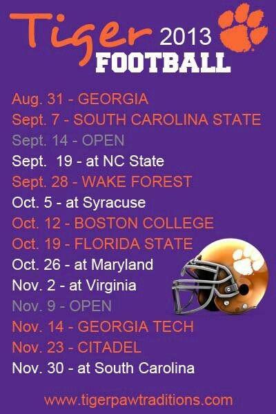 2013 football schedule | Clemson tigers football, Clemson ...