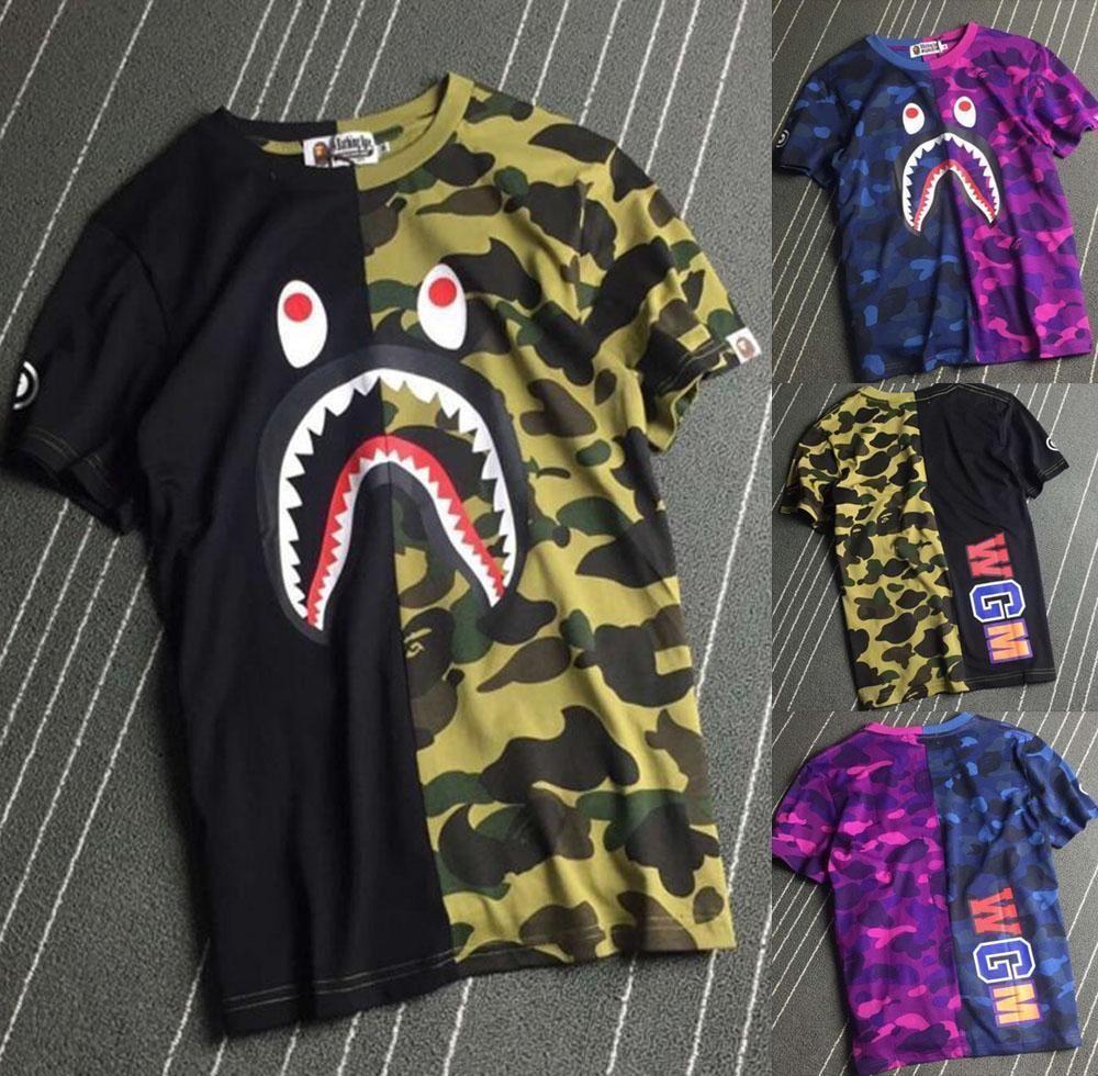 2ab3ca737753 Bape Men s Japan A Bathing Ape WGM Shark Head Camo Cotton T-Shirt S ...