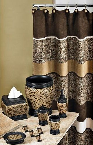 Cheetah Bathroom Set Curtain Etc With