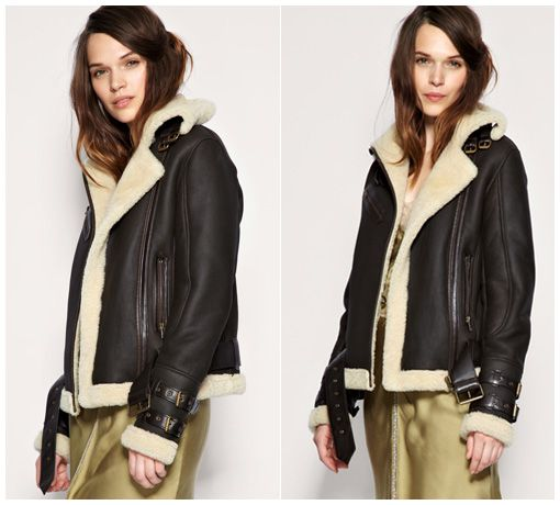 ASOS REVIVE Sheepskin Aviator Jacket in dark brown (Burberry ...