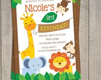 Jungle invitation safari invitation monkey invitation jungle invitation safari invitation monkey invitation centerpieces party birthday banner cupcake toppers zoo wild lion zebra filmwisefo