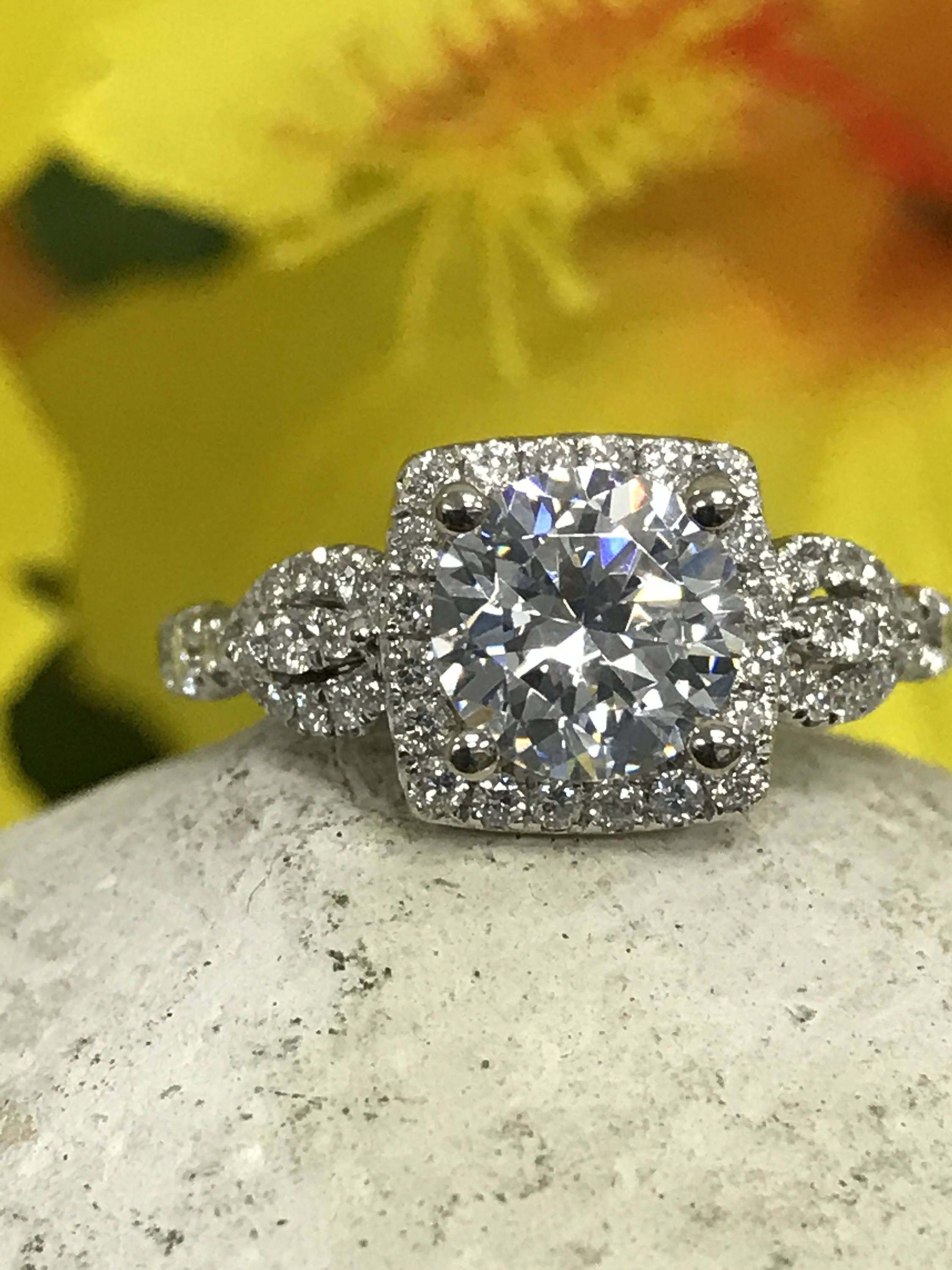 Moissanite engagement ring ct center with vintage inspired