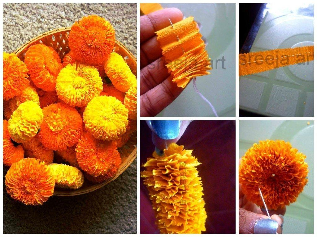 Marigold flower with crepe paper courtesy sreeja k achyuthan marigold flower with crepe paper mightylinksfo