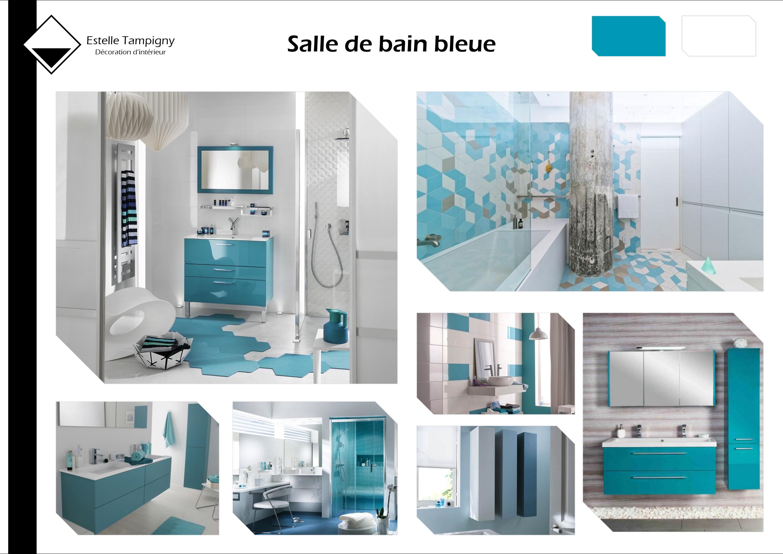 Salle De Bain Bleue : Planche d ambiance salle de bain bleue mes planches