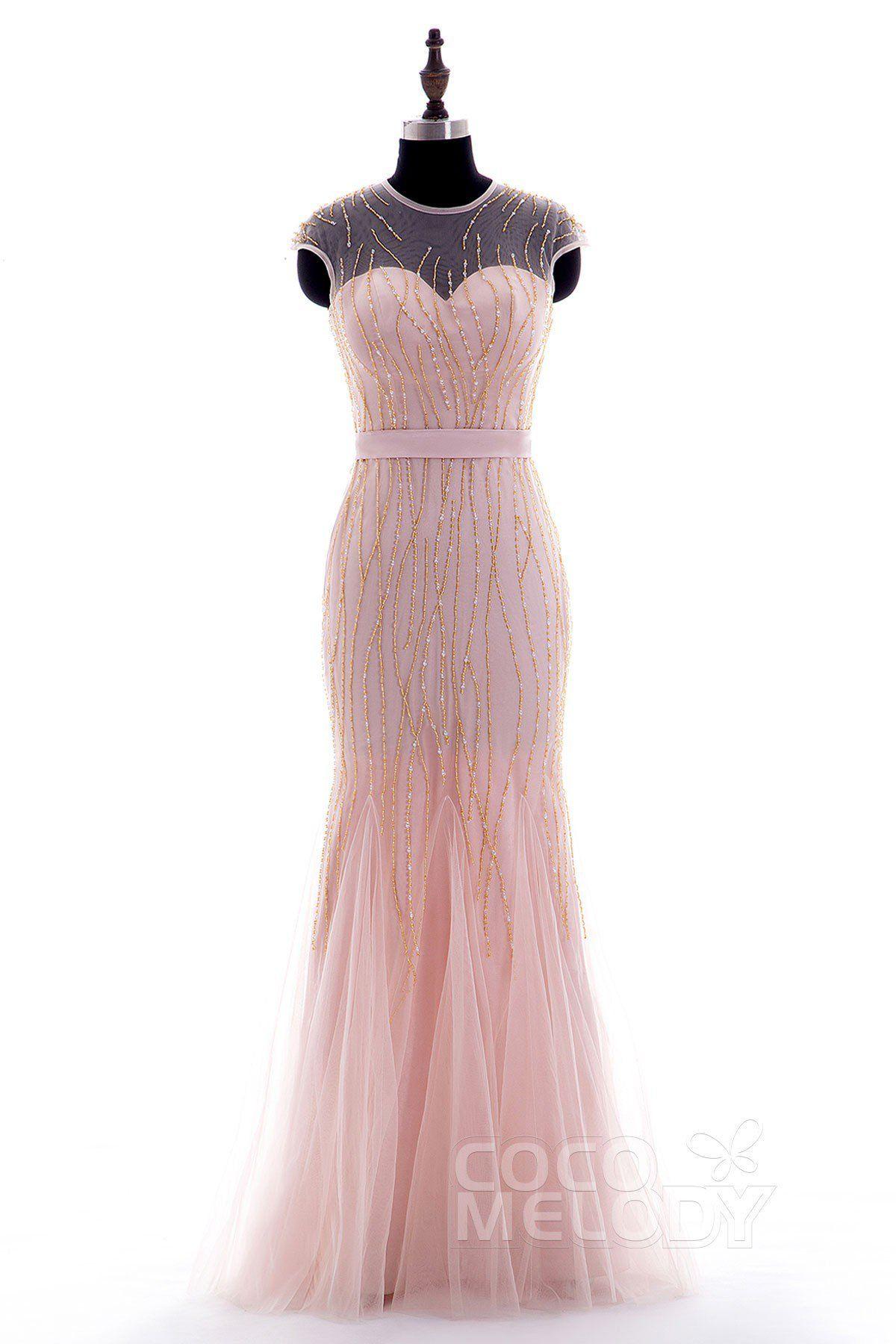Vintage Sheath-Column Illusion Floor Length Tulle Cap Sleeve Zipper ...