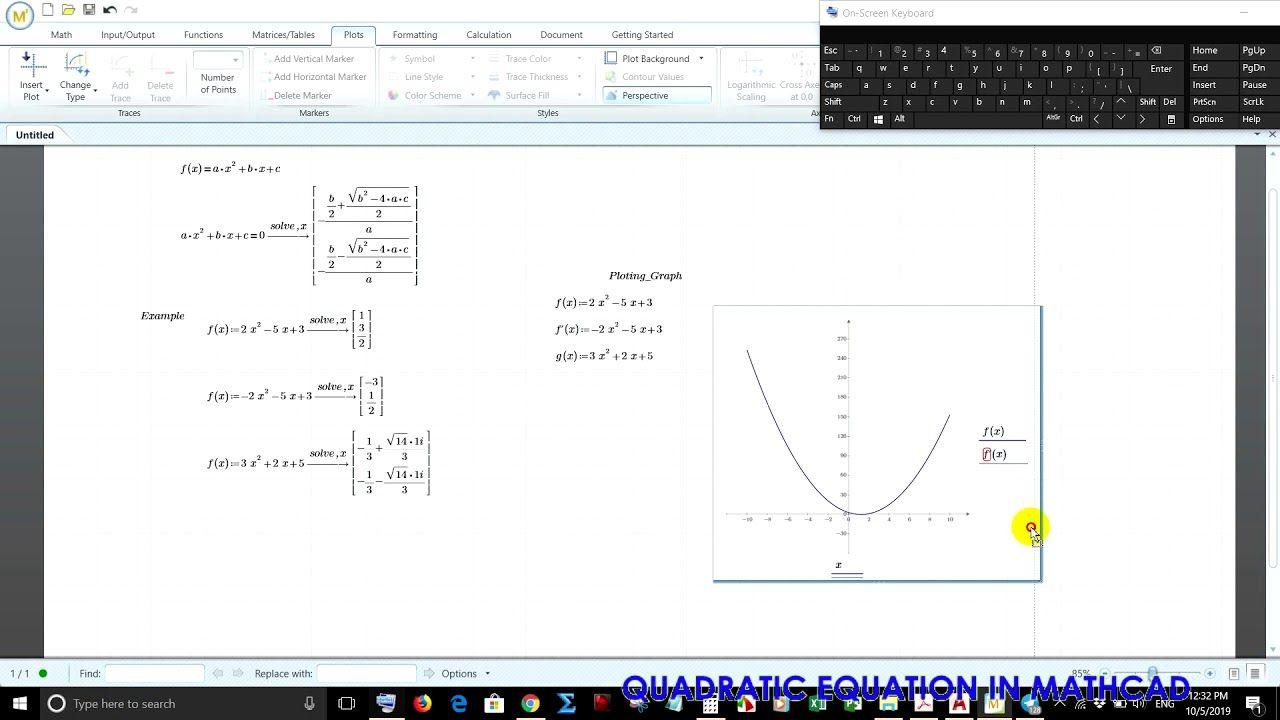 Quadratic Equation And Plot Graph In Mathcad ដ ស រ យ