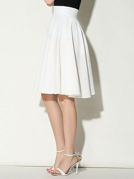 Shop White High Waist Midi Skater Skirt from choies.com .Free shipping Worldwide.$16.99