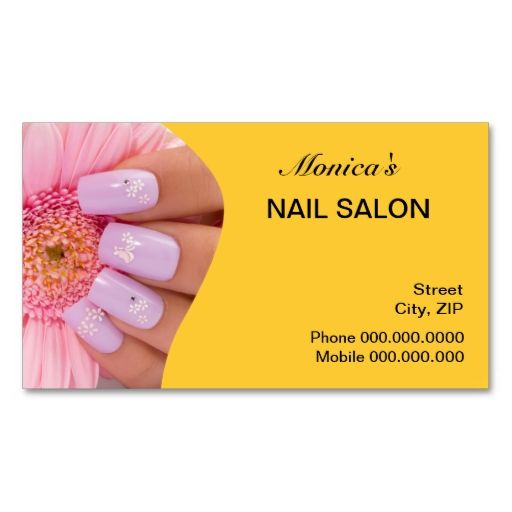 Nail Salon Business Card - choose your color. Make your own business card with this great design. All you need is to add your info to this template. Click the image to try it out!