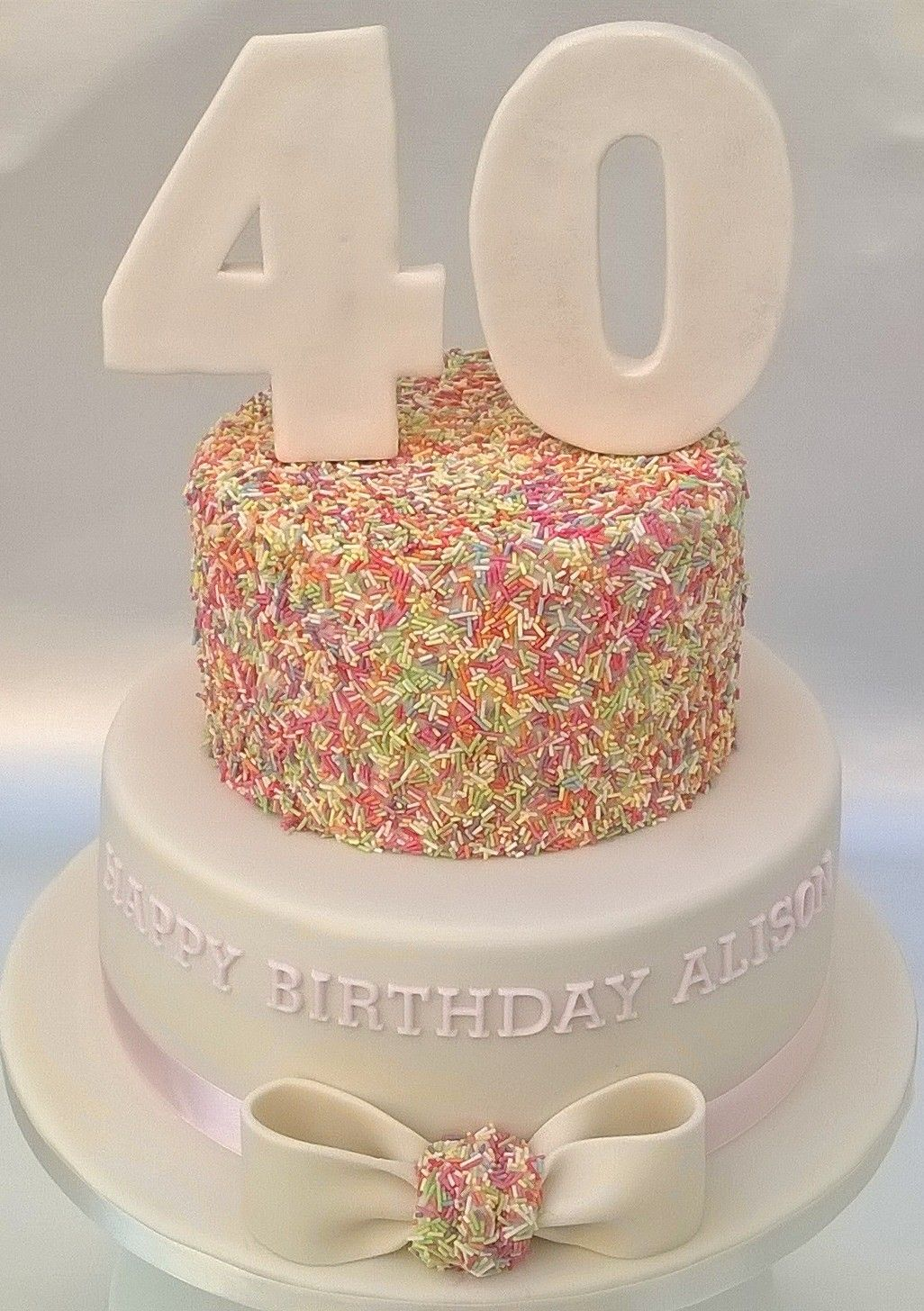 Two Tier 40th Birthday Sprinkle Cake