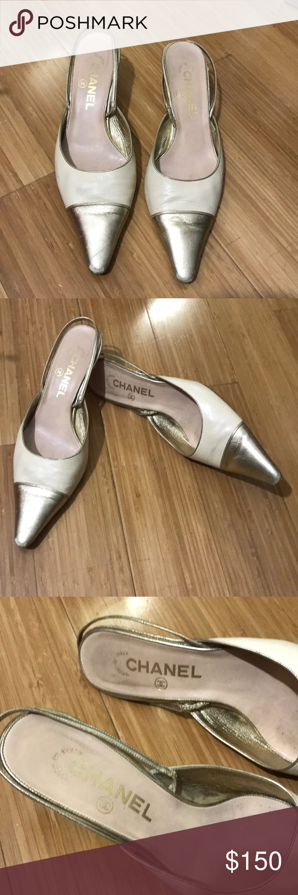 "0b05ade19b7cf Chanel Cap Toe Sling Back Heels Authentic - taupe/gold cap toe leather heels  - 2"" - gold heel and strap - some wear on tip of toe - prices accordingly  ..."