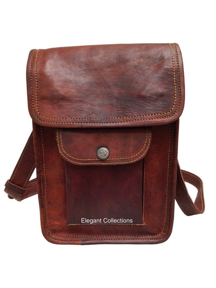 e694383d49 Genuine Vintage Soft Leather Unisex Brown Single Pocket Sling Leather Bag   Handmade  MessengerShoulderBag
