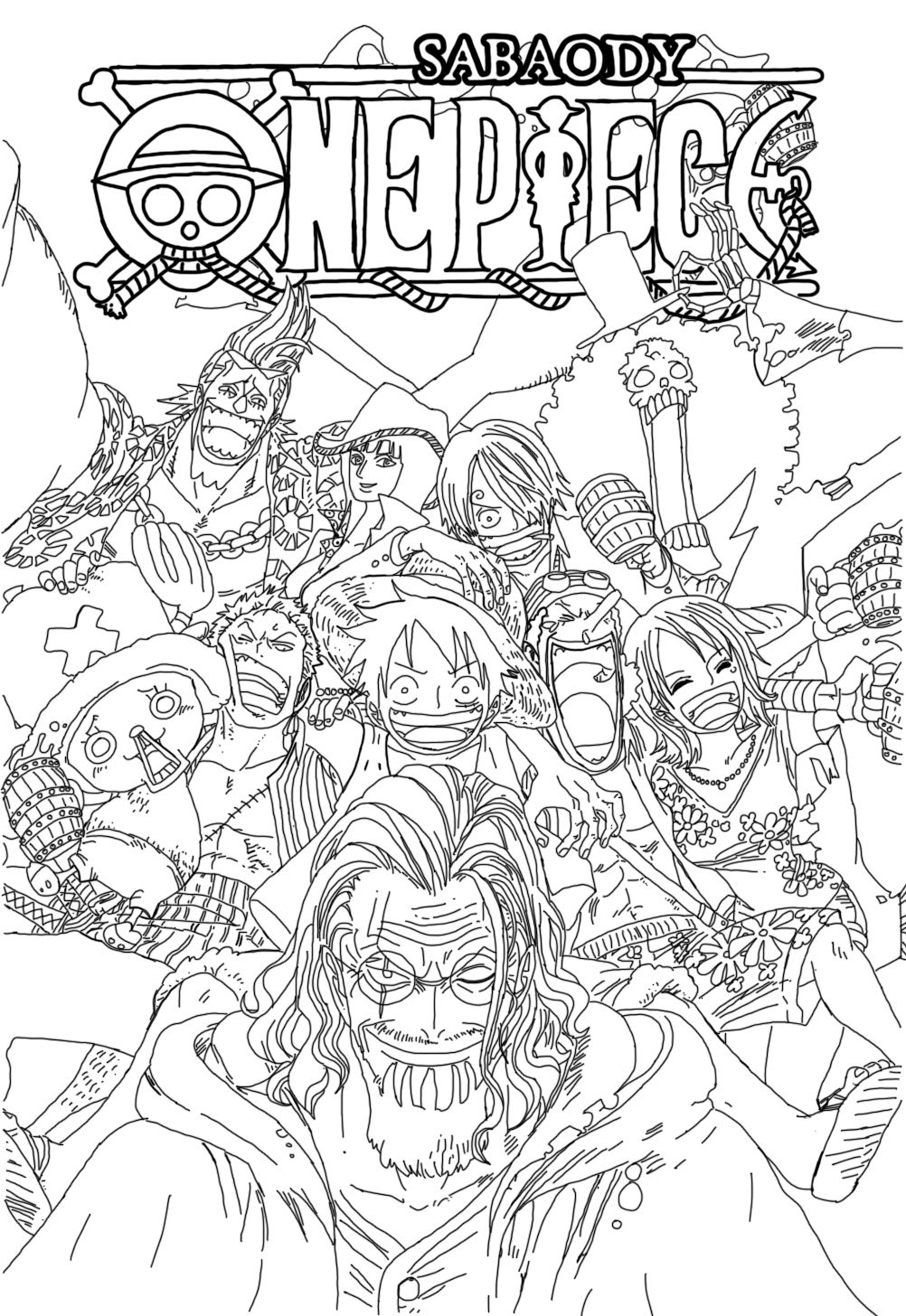 One Piece Coloring Pages : piece, coloring, pages, Piece, Drawing, Ideas, Drawing,, Piece,, Anime