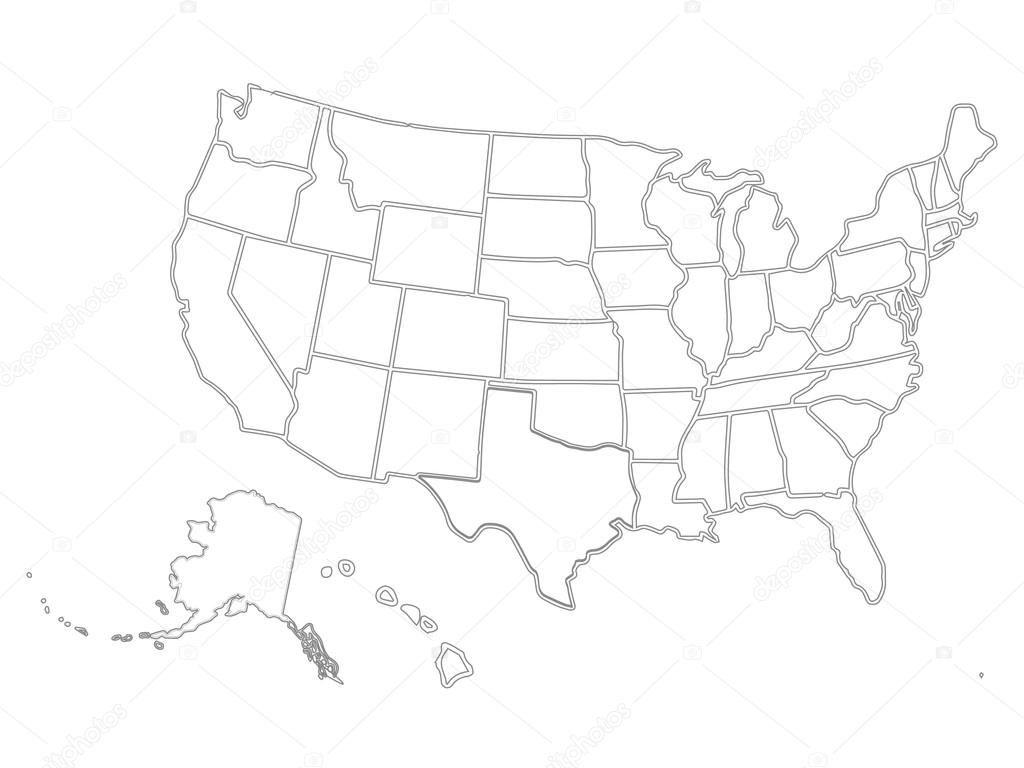 Blank Similar Usa Map Isolated On White Background. United