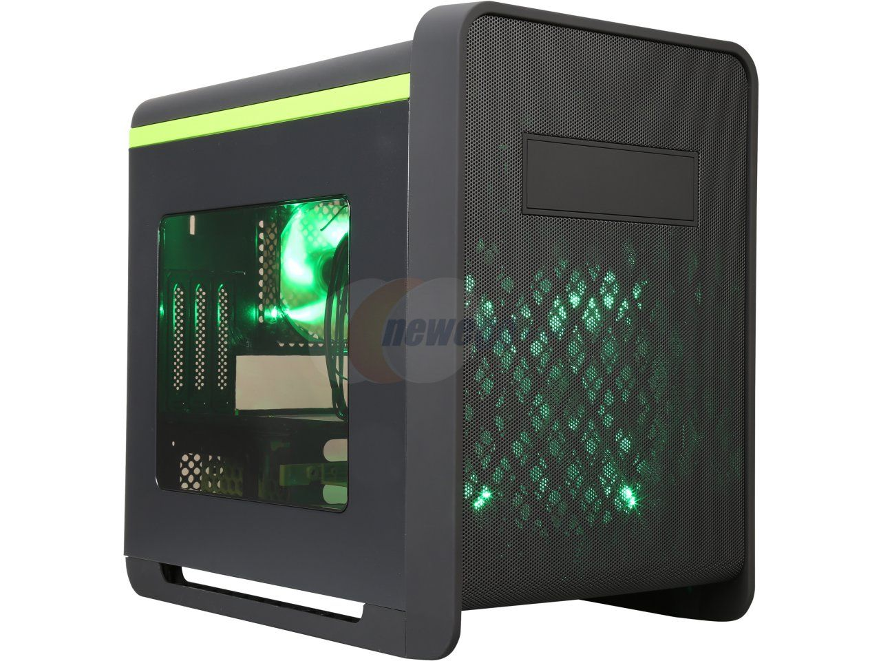 DIYPC Cuboid-G Black USB 3.0 Gaming Micro-ATX Mid Tower Computer Case w/1 x 200mm LED Green Fan x Front, 1 x120mm LED Green Fan x Rear - Newegg.com