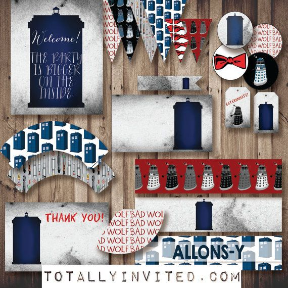 Doctor Who Instant Party Diy Printable Party Decorations Everything You Need Tardis Dr Who Wedding B Doctor Who Decor Doctor Who Wedding Doctor Who Party