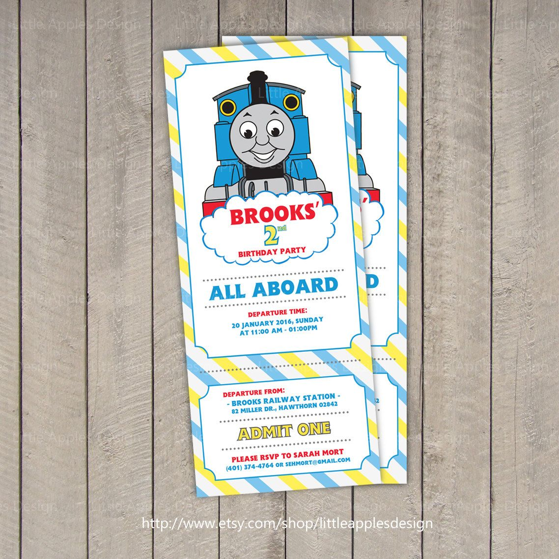 Thomas Train Invitation Ticket / Thomas by LittleRainbowDesign ...