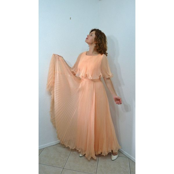 Vintage 50s Chiffon Gown Pink Peach Miss by KMalinkaVintage ($175) ❤ liked on Polyvore