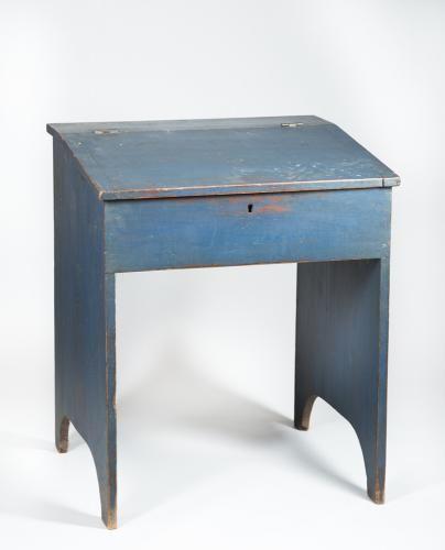 Shaker Blue Painted Childs Desk Slant Lid Lift Up Top With Shelf Interior Single Board Sides D Primitive Furniture Shaker Furniture Interior Design Furniture