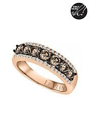 14Kt. Strawberry Gold and Chocolate Diamond Ring