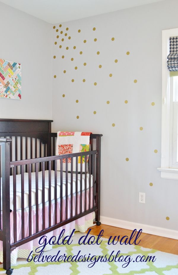Gold Polka Dot Wall Using Vinyl From Belvedere Designs Awesome - Nursery polka dot wall decals