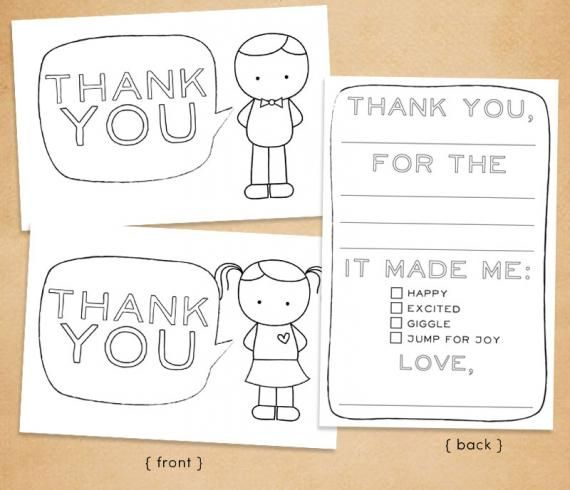 Printable Color In Thank You Cards For Kids Gifts Pinterest