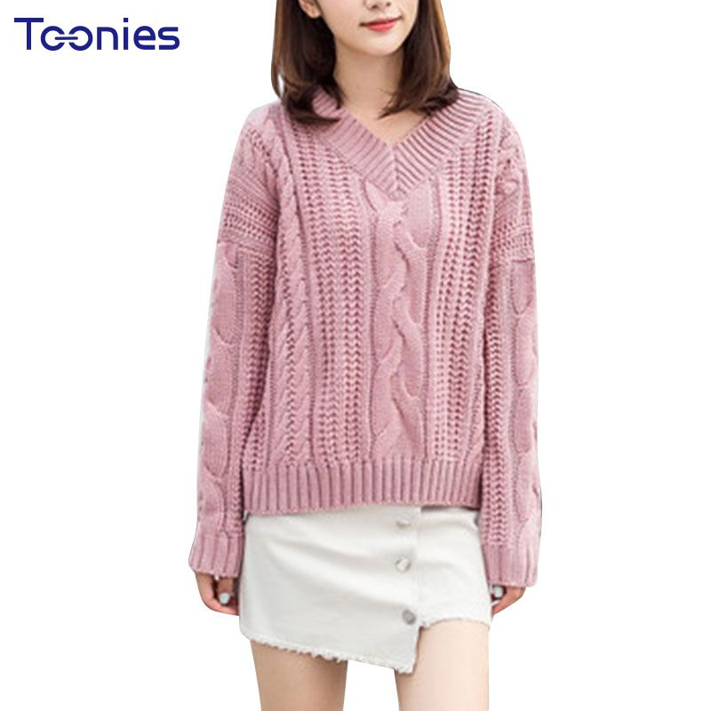 New Fashion Women Sweater Pullover Knitting Tops V Collar Solid Elegant Pullovers  Warm Winter Tops Fashion Jumper Pull Femme 0c863222b