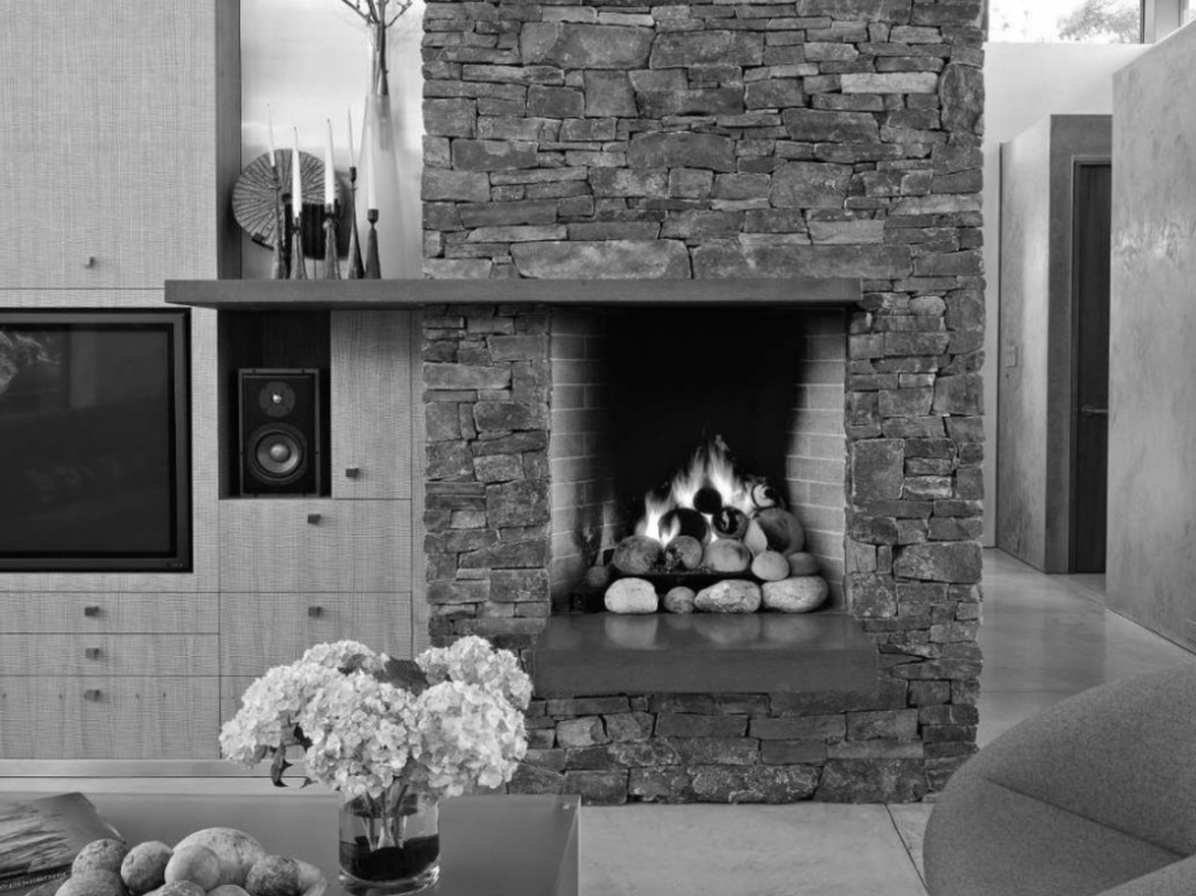 eclectic family room design ideas stone fireplace blazing