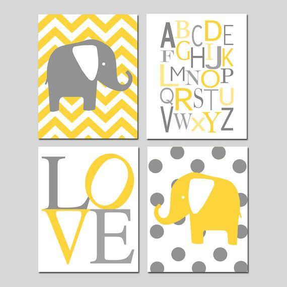 Yellow Gray Nursery Art Quad - Chevron Elephant, Modern Alphabet ...