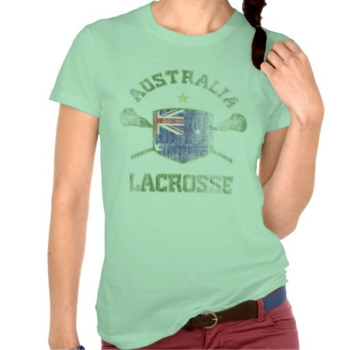 Australia Lacrosse Vintage T-Shirt. Aussie Flag shield design with crossed sticks. Distressed and weathered for the faded, vintage look.