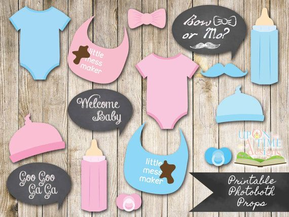 BABY SHOWER Photobooth Props PRINTABLE - Baby Beanie, Dummies/Pacifiers, Bibs and more - Instant Download