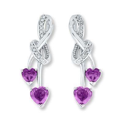 c2f287c8681f71 Amethyst Heart Earrings 1/10 ct tw Diamonds 10K White Gold in 2019 ...