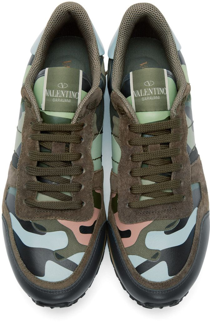 Blue and green camouflage sneakers Valentino
